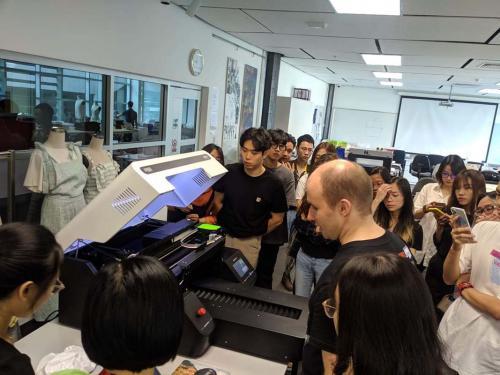 5. Printing students designs at the seminar