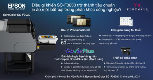 Epson SureColor SC-F3030 - Tốc độ vuột trội mang lại 60 hình in áo đen khổ lớn trong 1 giờ