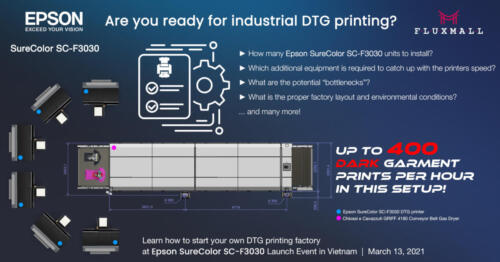 Epson SureColor SC-F3030 - industrial DTG printing