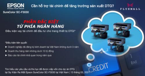 Epson SureColor SC-F3030 - Cần hỗ trợ tài chính để tăng trưởng sản xuất DTG?